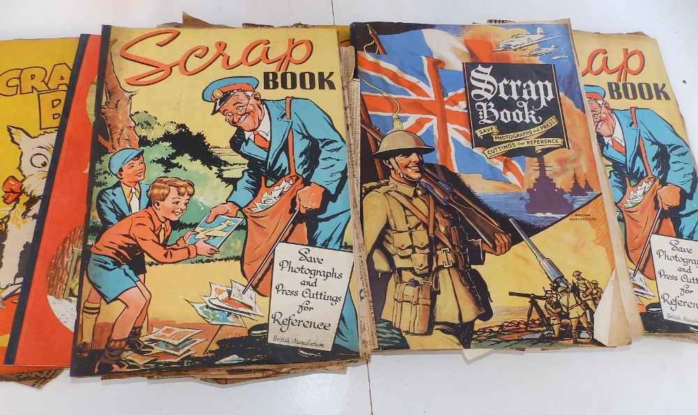 Five WWII period scrapbooks with colour printed covers - 'Save Photographs and Press Cuttings for