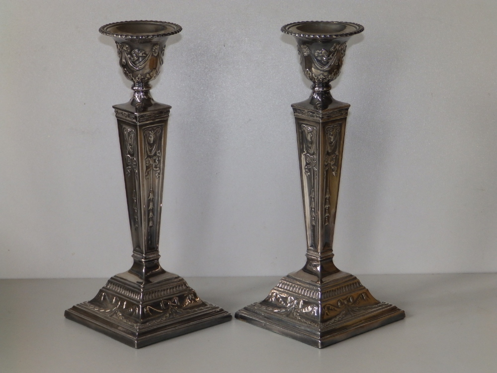 A pair of modern silver candlesticks, of square neoclassical form with detachable beaded sconces, - Image 2 of 8