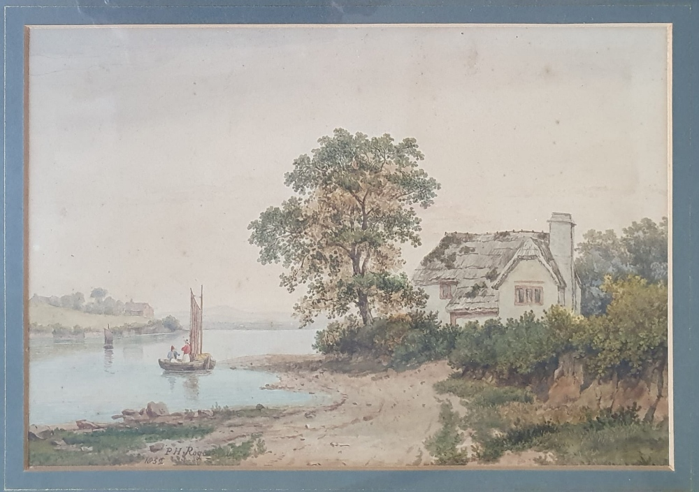 """P H Rogers - watercolour - A house by water with a boat & figures, signed & dated 1852, 8"""" x 10""""."""