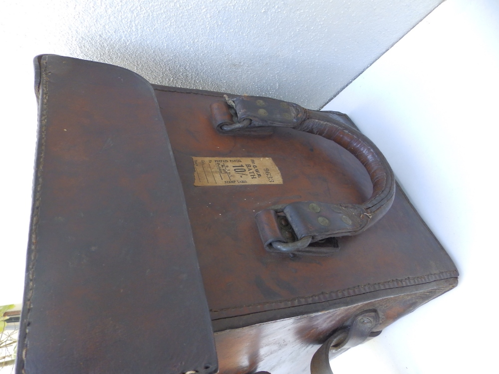"""A heavy duty leather elephant pannier made for an English officer, dated 1942, 29"""" across. - Image 4 of 7"""