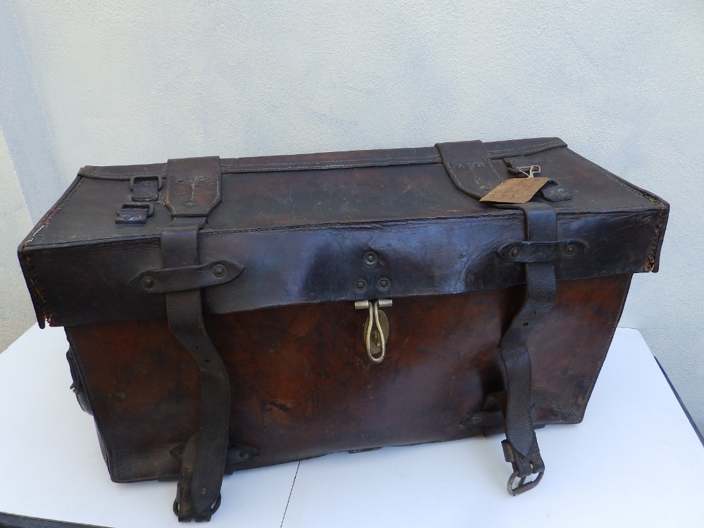 """A heavy duty leather elephant pannier made for an English officer, dated 1942, 29"""" across."""