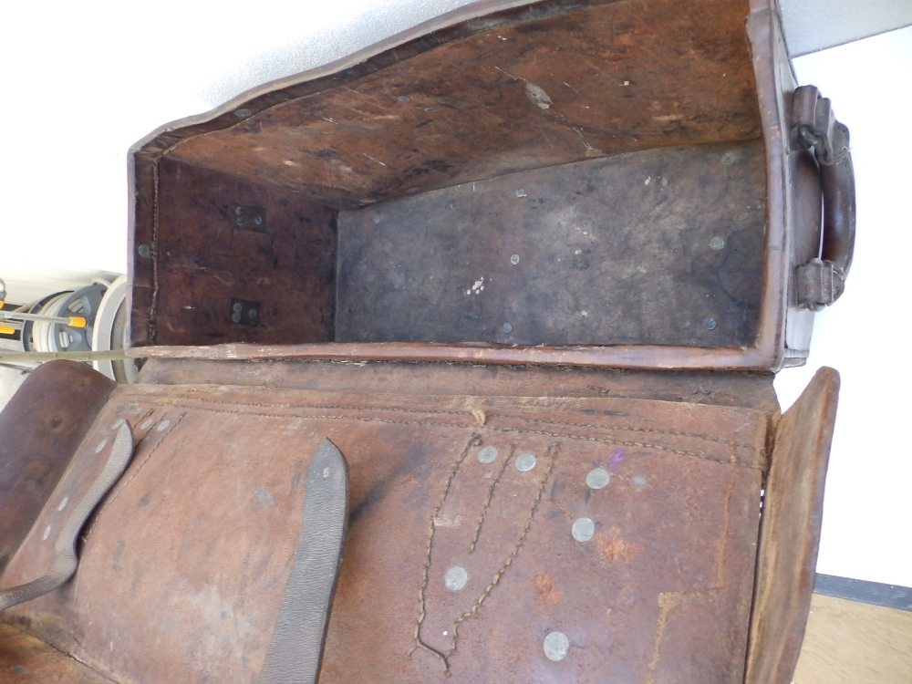 """A heavy duty leather elephant pannier made for an English officer, dated 1942, 29"""" across. - Image 6 of 7"""