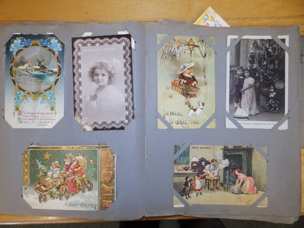 Two old postcard albums conatining approximately 200 cards including WWI subjects and humorous. - Image 8 of 9