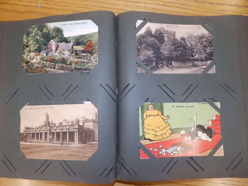 Two old postcard albums conatining approximately 200 cards including WWI subjects and humorous. - Image 3 of 9