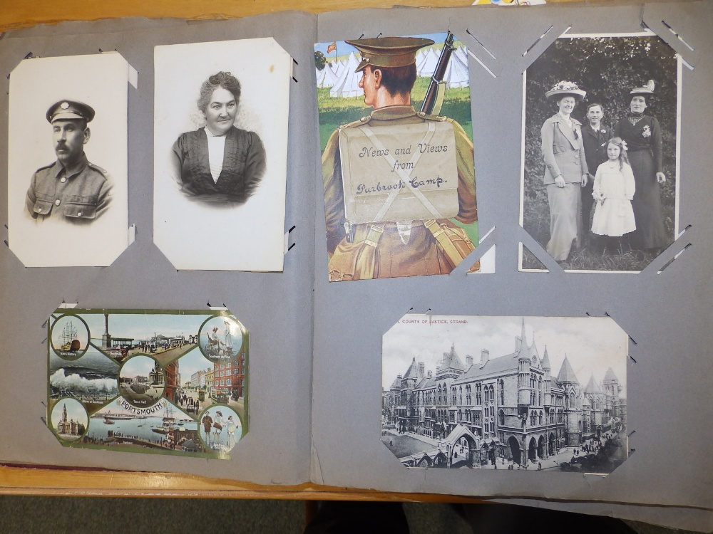 Two old postcard albums conatining approximately 200 cards including WWI subjects and humorous. - Image 9 of 9