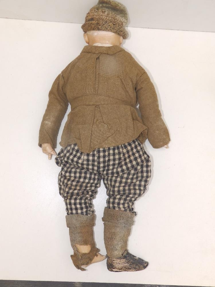 """A wax-headed boy doll with blue paperweight eyes, 18"""" overall. - Image 3 of 4"""