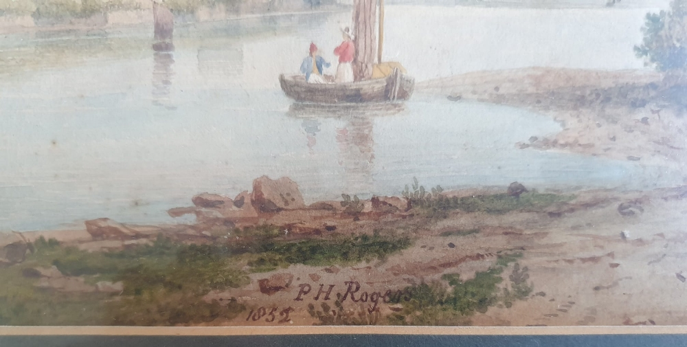 """P H Rogers - watercolour - A house by water with a boat & figures, signed & dated 1852, 8"""" x 10"""". - Image 3 of 4"""