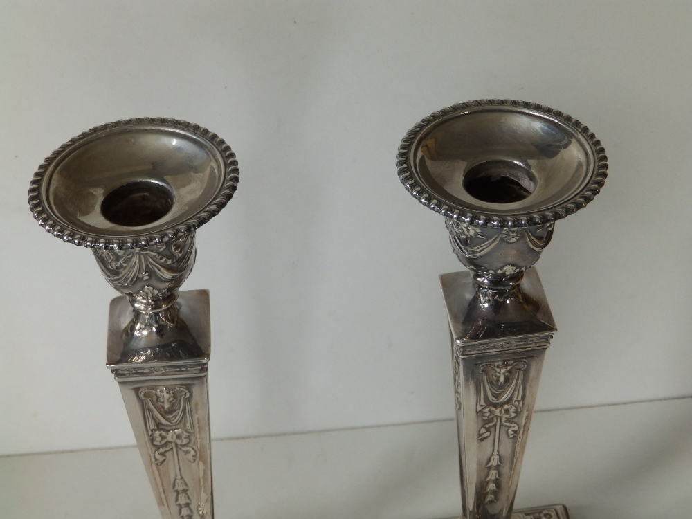 A pair of modern silver candlesticks, of square neoclassical form with detachable beaded sconces, - Image 3 of 8