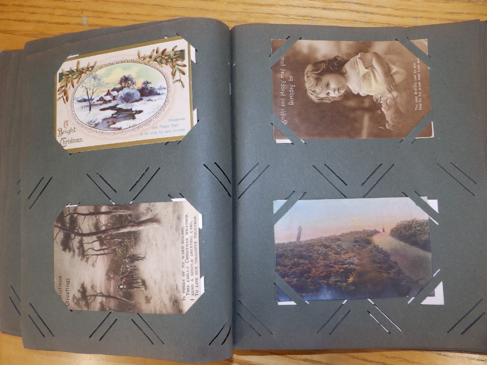 Two old postcard albums conatining approximately 200 cards including WWI subjects and humorous. - Image 5 of 9