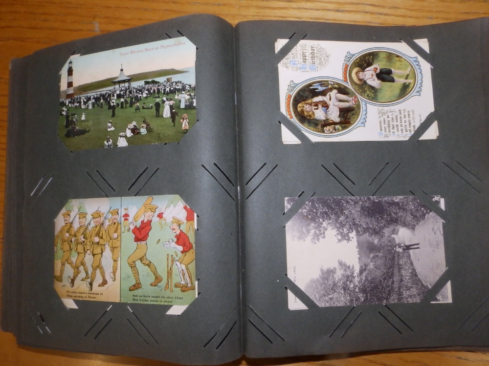 Two old postcard albums conatining approximately 200 cards including WWI subjects and humorous. - Image 6 of 9
