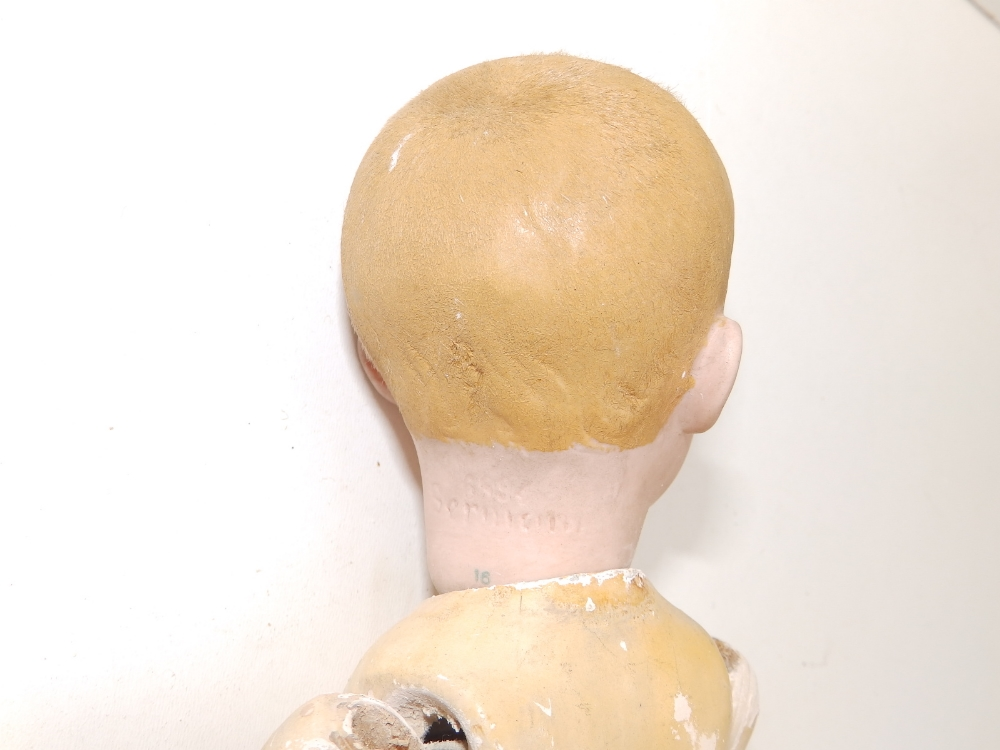 """A German bisque head boy doll with blue painted eyes, painted hair - '6894, 16', 12"""". - Image 4 of 4"""