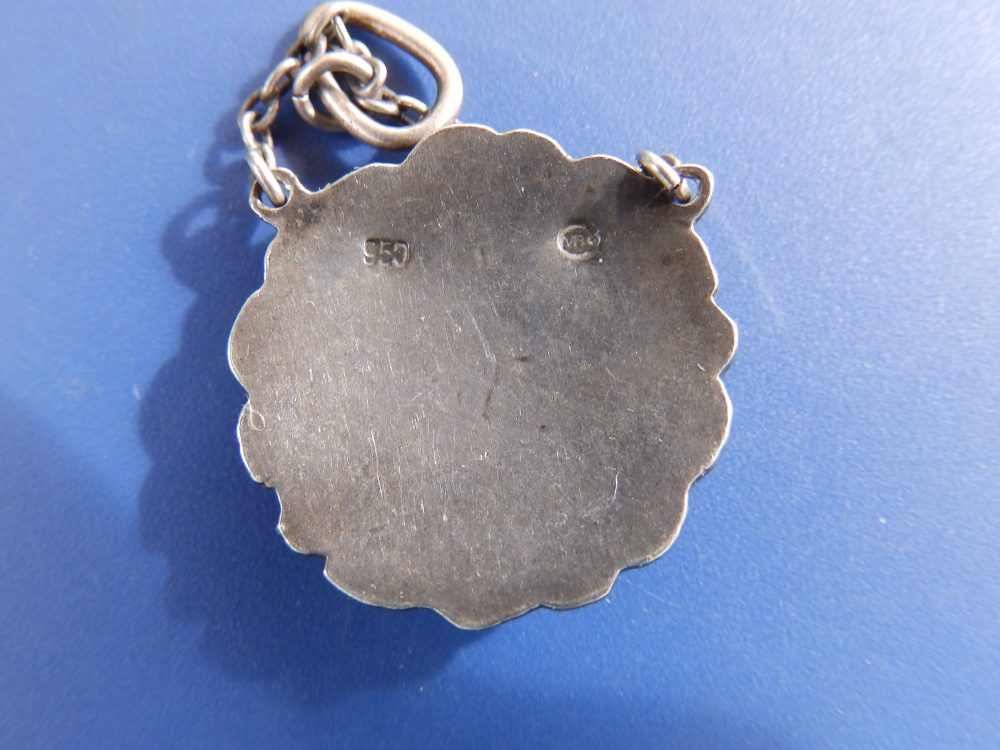 An enamelled 950 silver art nouveau pendant by Murrle Bennett & Co, of circular flower garland - Image 2 of 2