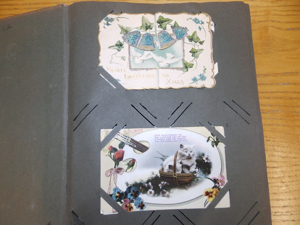 Two old postcard albums conatining approximately 200 cards including WWI subjects and humorous. - Image 2 of 9