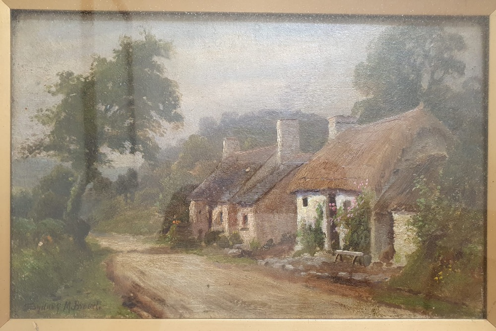 """Sydney M Broad - a pair of oils on board - Rural scenes, 9.5"""" x 13.5"""" - one a/f. (2) - Image 3 of 4"""
