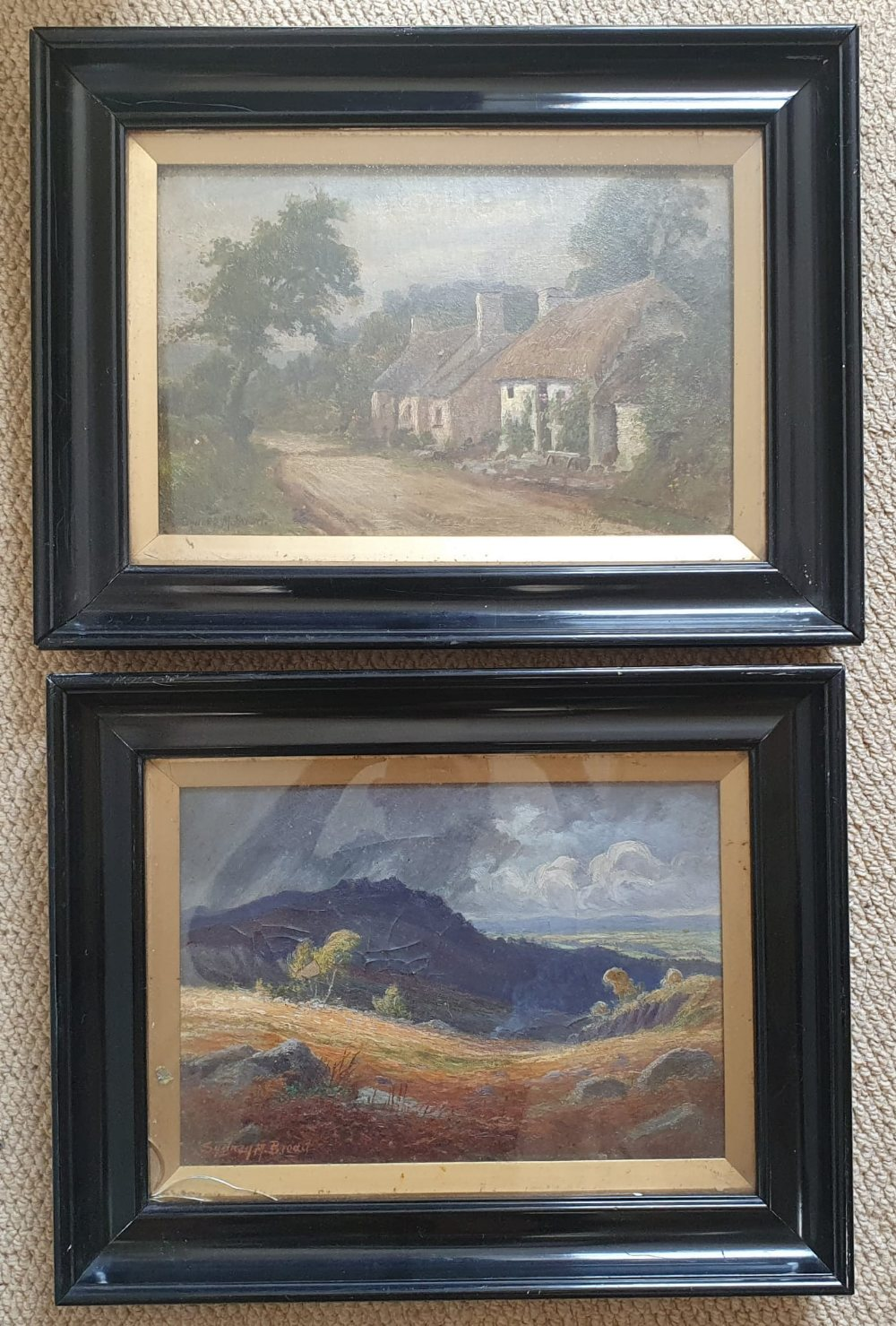 """Sydney M Broad - a pair of oils on board - Rural scenes, 9.5"""" x 13.5"""" - one a/f. (2)"""