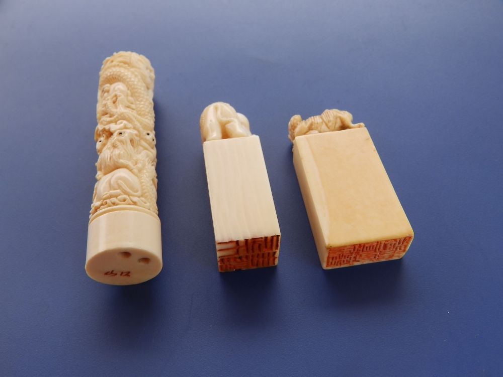 Two late 19th/early 20thC Chinese ivory desk seals, one with an elephant, the other with a - Image 2 of 3
