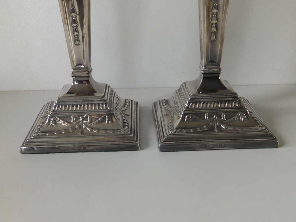 A pair of modern silver candlesticks, of square neoclassical form with detachable beaded sconces, - Image 4 of 8