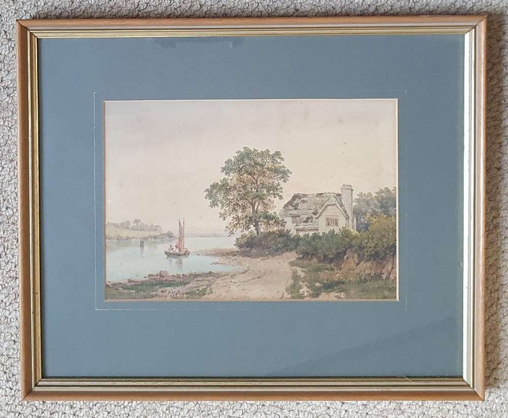 """P H Rogers - watercolour - A house by water with a boat & figures, signed & dated 1852, 8"""" x 10"""". - Image 2 of 4"""