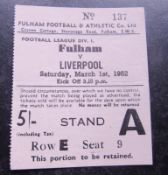 TICKET 1951-52 FULHAM V LIVERPOOL