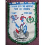 RUGBY UNION - LARGE FRANCE V SCOTLAND 1989 5 NATIONS PENNANT