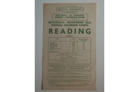 1949 READING V ROTHERHAM BRITISH RAIL HANDBILL