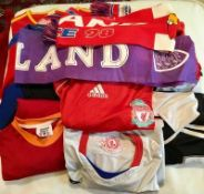 11 x ASSORTED FOOTBALL SHIRTS + 2 SCARFS