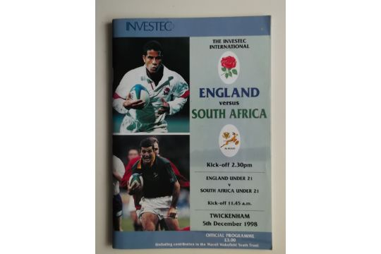 RUGBY UNION - 1998 ENGLAND V SOUTH AFRICA PROGRAMME + TICKET