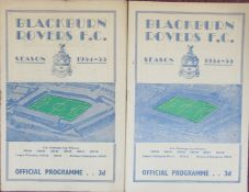 1954-55 BLACKBURN ROVERS HOMES X 2 - DERBY & NOTTS COUNTY