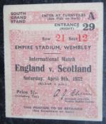 1932 ENGLAND V SCOTLAND TICKET