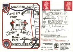 81/82 SUNDERLAND V MIDDLESBROUGH POSTAL COVER HAND SIGNED BY ALAN DURBAN & BOBBY MURDOCH