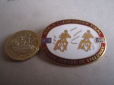 SPEEDWAY - WORLD FINAL JUBILEE 1978 GILT BADGE
