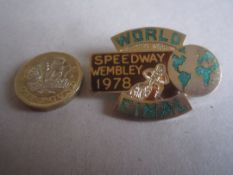 SPEEDWAY - WORLD FINAL 1978 GILT BADGE