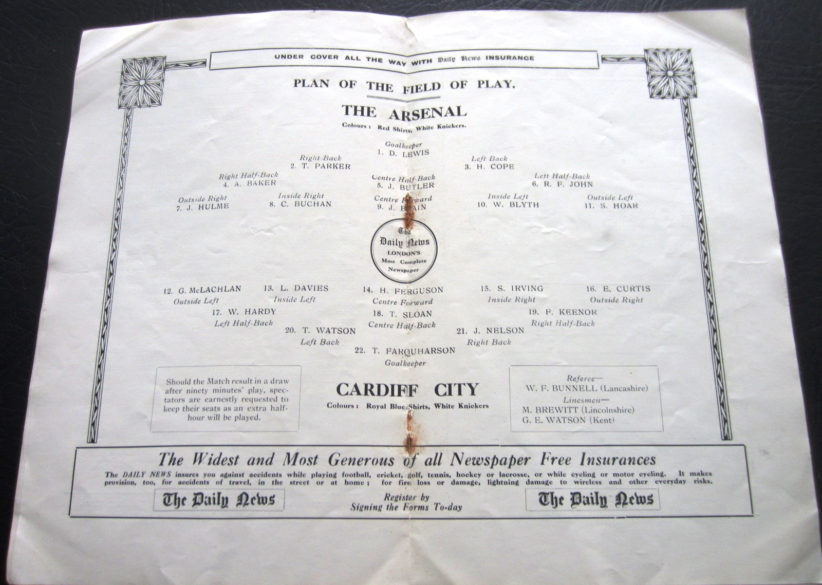 1927 FA CUP FINAL PROGRAMME ARSENAL V CARDIFF CITY - Image 2 of 3