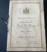 NEWCASTLE - MENU FOR THE 1924 FA CUP FINAL WITH AUTOGRAPHS