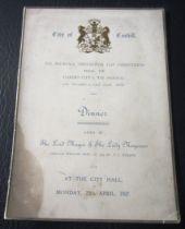 CARDIFF CITY - 1927 FA CUP FINAL MENU
