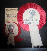 SUNDERLAND MEMORABILIA FROM 1937 & 1973 FA CUP FINALS