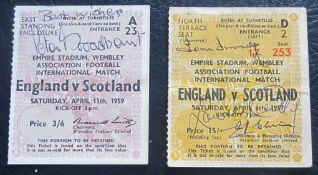 ENGLAND V SOTLAND 1957 & 1959 AUTOGRAPHED TICKETS
