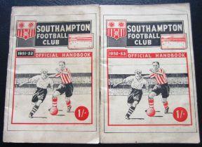 SOUTHAMPTON HANDBOOKS 1951-52 & 1952-53