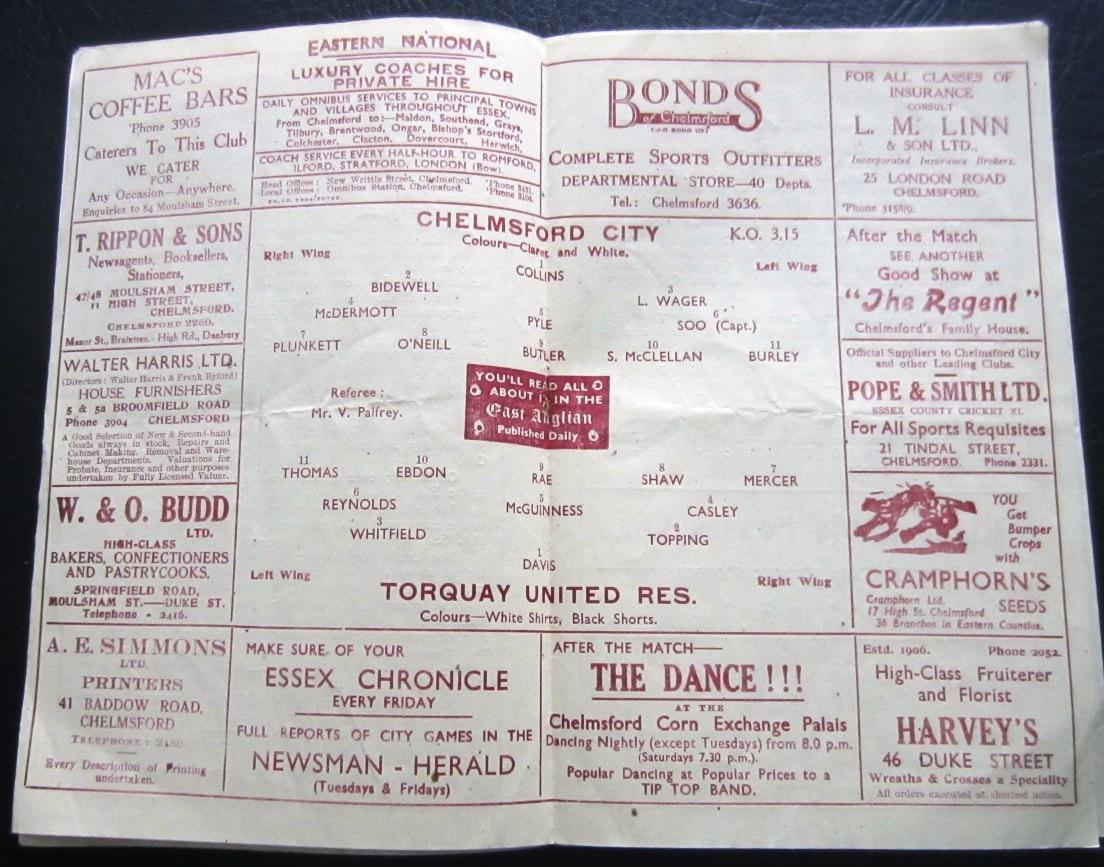 1948-49 CHELMSFORD CITY V TORQUAY UNITED RESERVES - Image 2 of 2