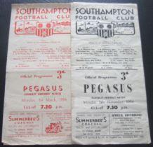 SOUTHAMPTON V PEGASUS FRIENDLY GAMES 1953-54 & 1954-55