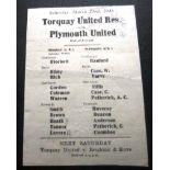 1945-46 TORQUAY UNITED RESERVES V PLYMOUTH UNITED