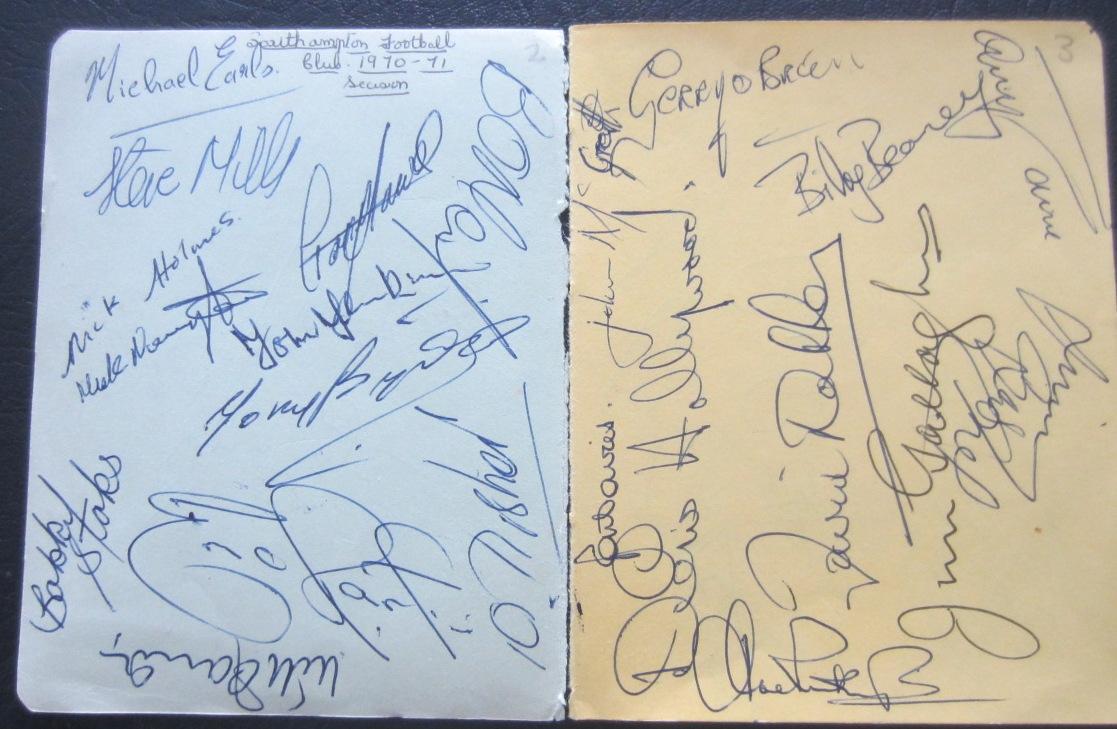 SOUTHAMPTON - TWO VINTAGE AUTOGRAPHED ALBUM PAGES 1970-71