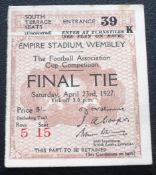 1927 FA CUP FINAL ORIGINAL TICKET ARSENAL V CARDIFF