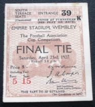 1927 FA CUP FINAL ORIGINAL TICKET ARSENAL V CARDIFF