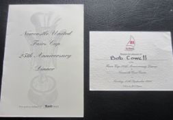 NEWCASTLE UTD 25TH ANNIVERSARY OF FAIRS CUP WIN MENU AND TICKET BOTH MULTI SIGNED