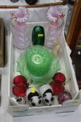 Box of glassware, cranberry glass jugs, 1920's green glass fruit set, pair of overpainted vases,