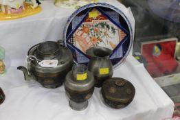 Japanese teapot, lidded bowl,