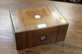Late 19th century mother of pearl and parquetry inlaid sewing box