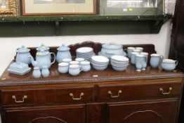 Denby tea and dinner service, 40+ pieces, storage jars, teapot, plates, cups, saucers bowls,