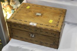 Mother of pearl and parquetry inlaid box